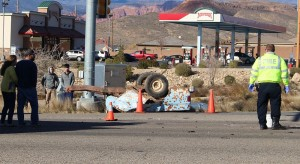 An accident on State Street in Hurricane damaged a minivan and destroyed a utility trailer Saturday afternoon, Hurricane, Utah, Dec. 12, 2015   Photo by Ric Wayman, St. George News