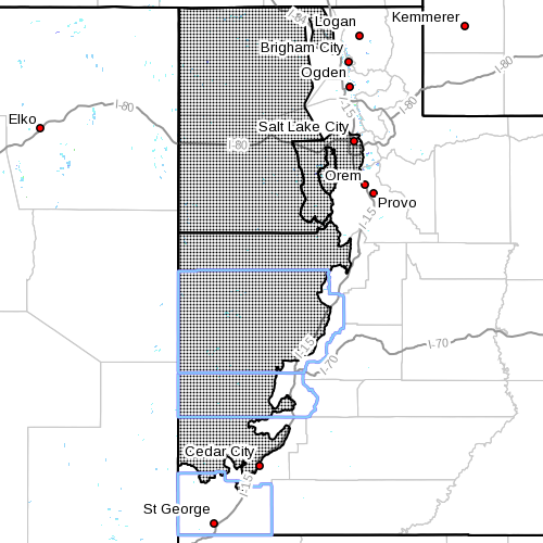 Dots indicate area affected by the high wind watch, Dec. 9, 2015, 9:15 a.m. | Image courtesy of the National Weather Service, St. George News