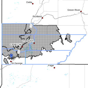 Dots indicate area affected by the winter weather advisory, Utah, Dec. 15, 2015, 12:55 p.m. | Image courtesy of the National Weather Service, St. George News