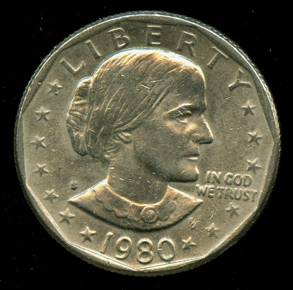 A 1980-S U.S. dollar coin, in the Susan B. Anthony design, first minted in 1979 | Photo via Wikimedia commons, St. George News