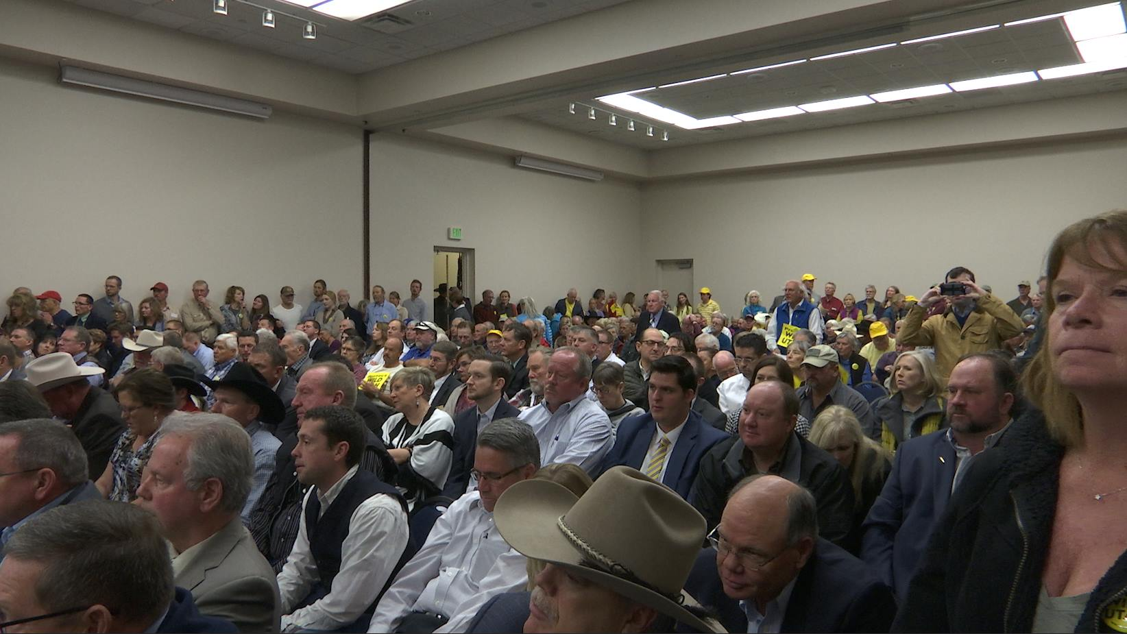 The Dixie Center St. George was packed for a congressional field hearing convened by the Utah congressional delegation because of complaints that the BLM is not working with local officials on the resource management plans.  St. George, Utah Jan. 22, 2015 | Photo by Austin Peck, St. George News