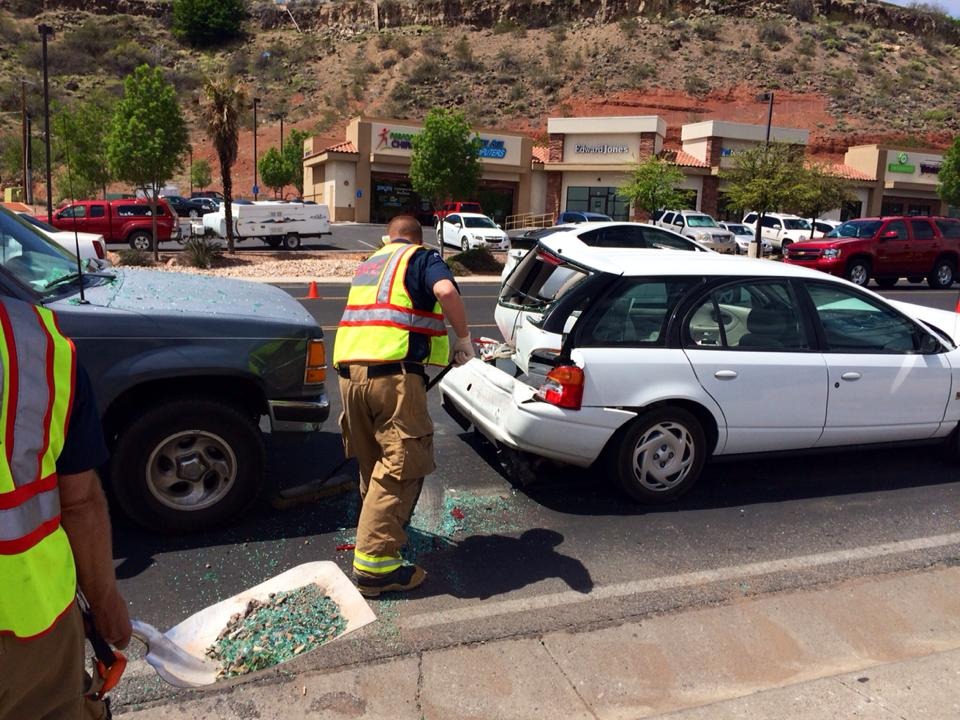 "This 2014 photo shows the aftermath of a four-vehicle collision allegedly resulting from a driver texting while driving in St. George. Although the driver was ultimately cited for distracted driving based on evidence collected at the scene, police said, she repeatedly told the officer at the scene, ""I swear that I was not texting."" Read the story here. St. George, Utah, April 16, 2014 