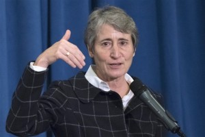 Interior Secretary Sally Jewell speaks at the Interior Department in Washington, D.C in Novemeber 2015. The Obama administration says it's halting new coal leases on federal lands until it completes a comprehensive review. Jewell said Jan. 15, 2016, that companies will continue to be able to mine coal reserves already under lease, Washington, D.C,. Nov. 10, 2015 | AP Photo by Sait Serkan Gurbuz, St. George News