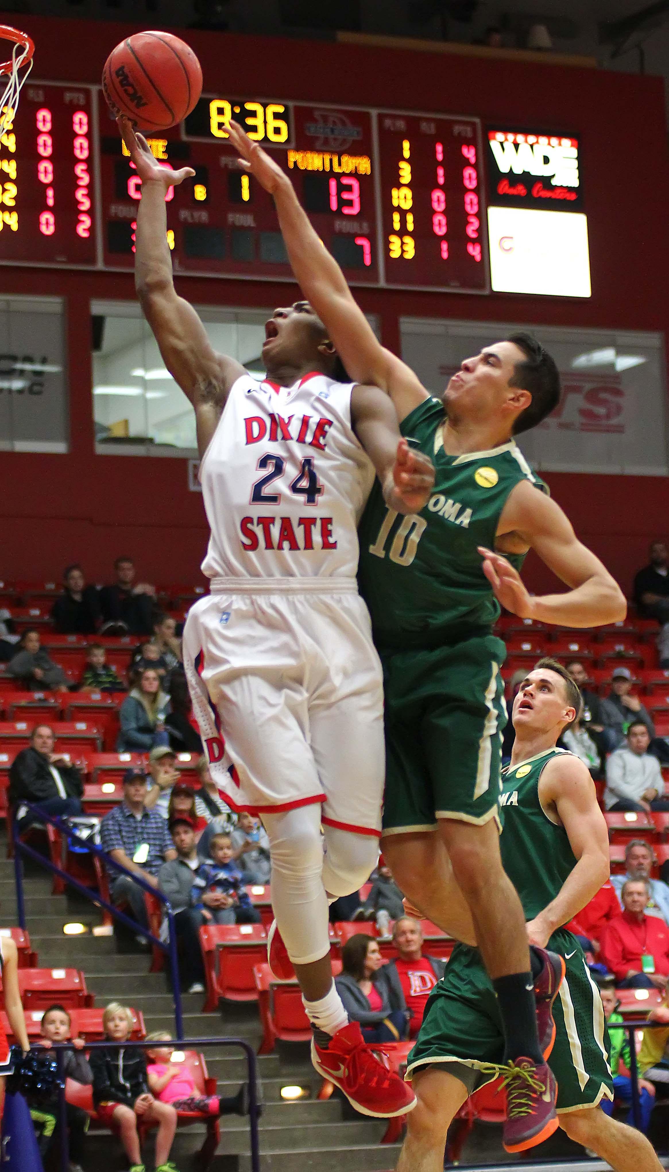 Dixie State's  Trevor Hill (24), Dixie State University vs. Point Loma University, Mens Basketball, St. George, Utah, Jan. 18, 2016, | Photo by Robert Hoppie, ASPpix.com, St. George News