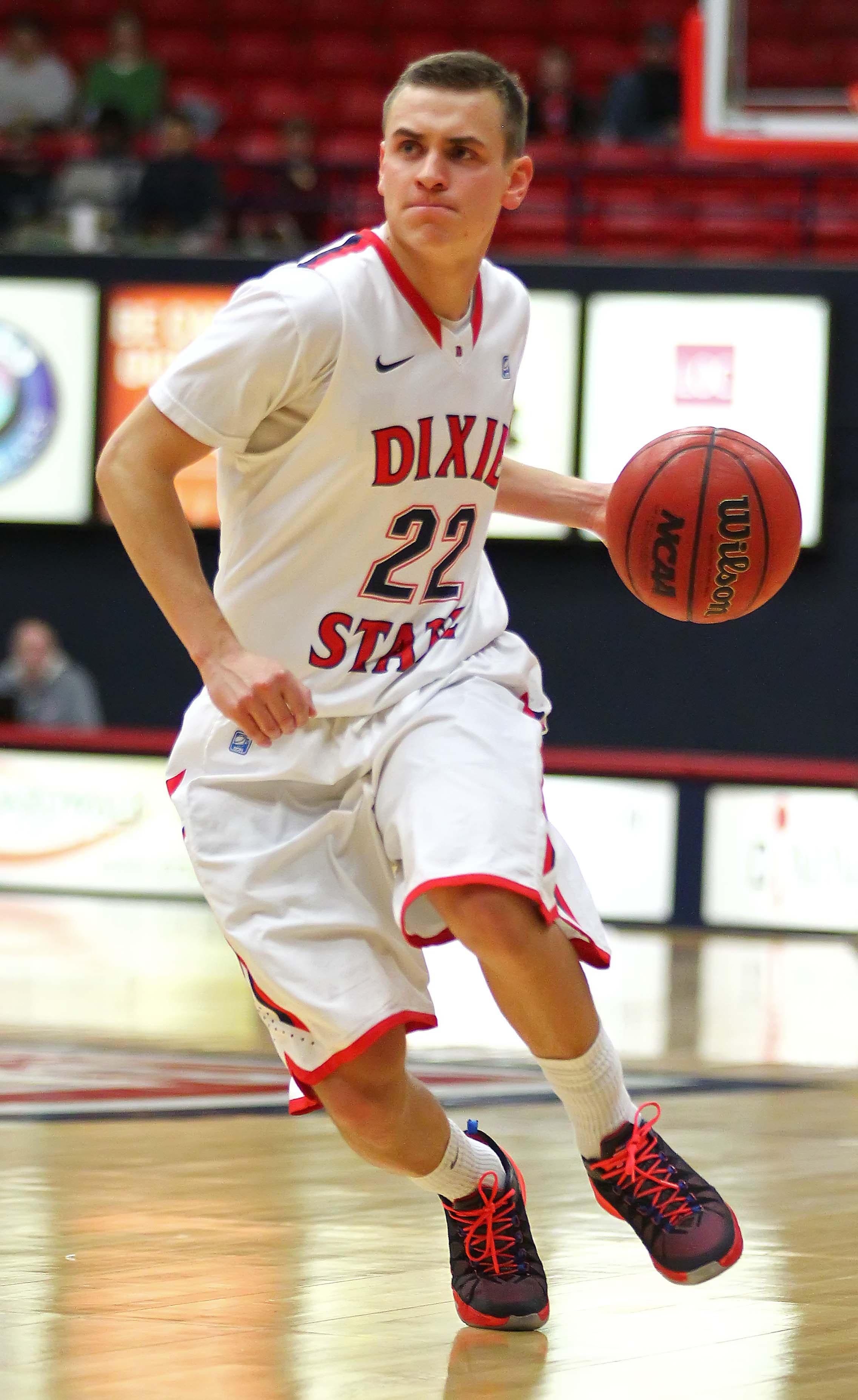 Dixie State's  Brandon Simister (22), Dixie State University vs. Point Loma University, Mens Basketball, St. George, Utah, Jan. 18, 2016, | Photo by Robert Hoppie, ASPpix.com, St. George News