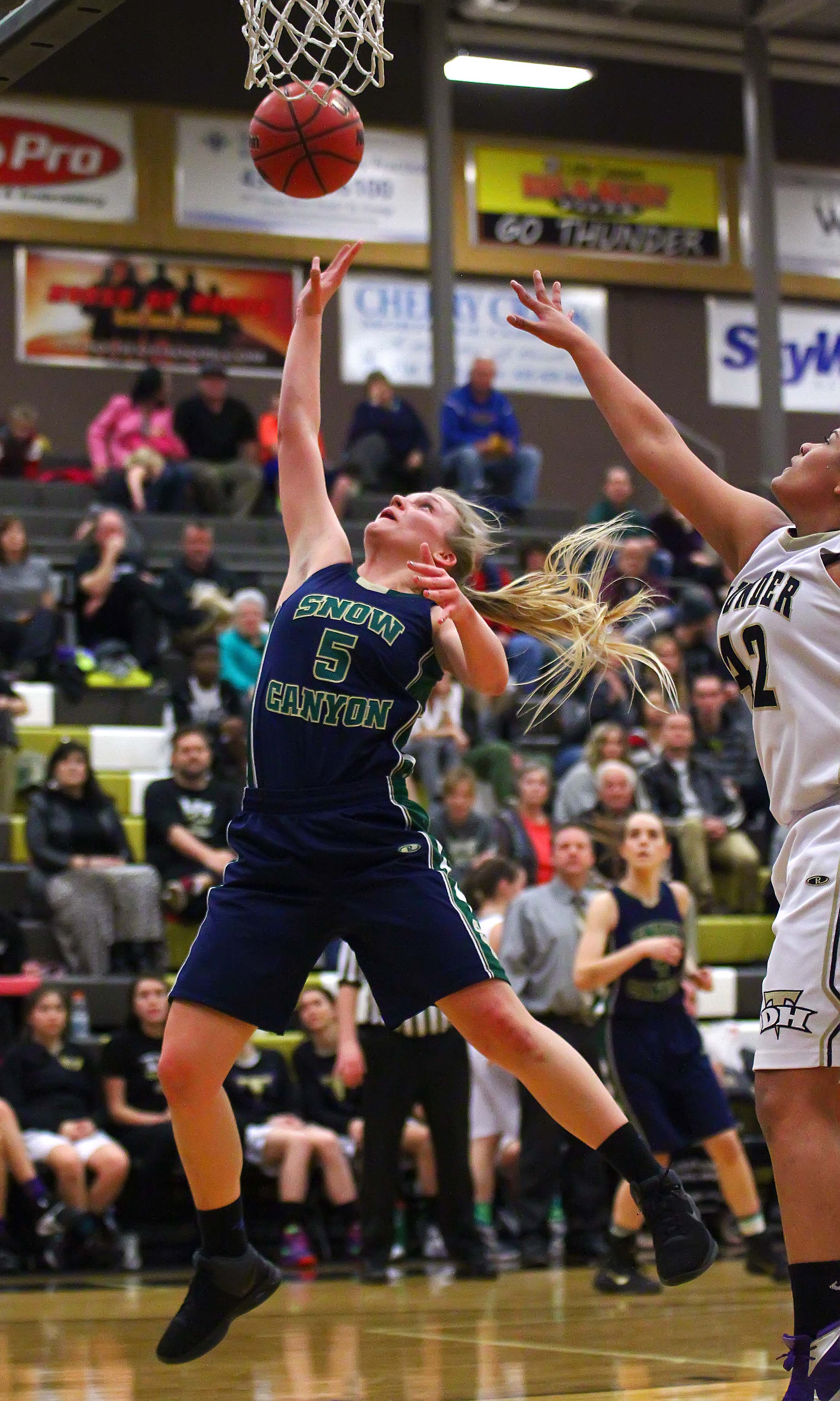Snow Canyon's Shaylee Reed (5), Desert Hills vs. Snow Canyon, Girls Basketball, St. George, Utah, Jan. 26, 2016, | Photo by Robert Hoppie, ASPpix.com, St. George News