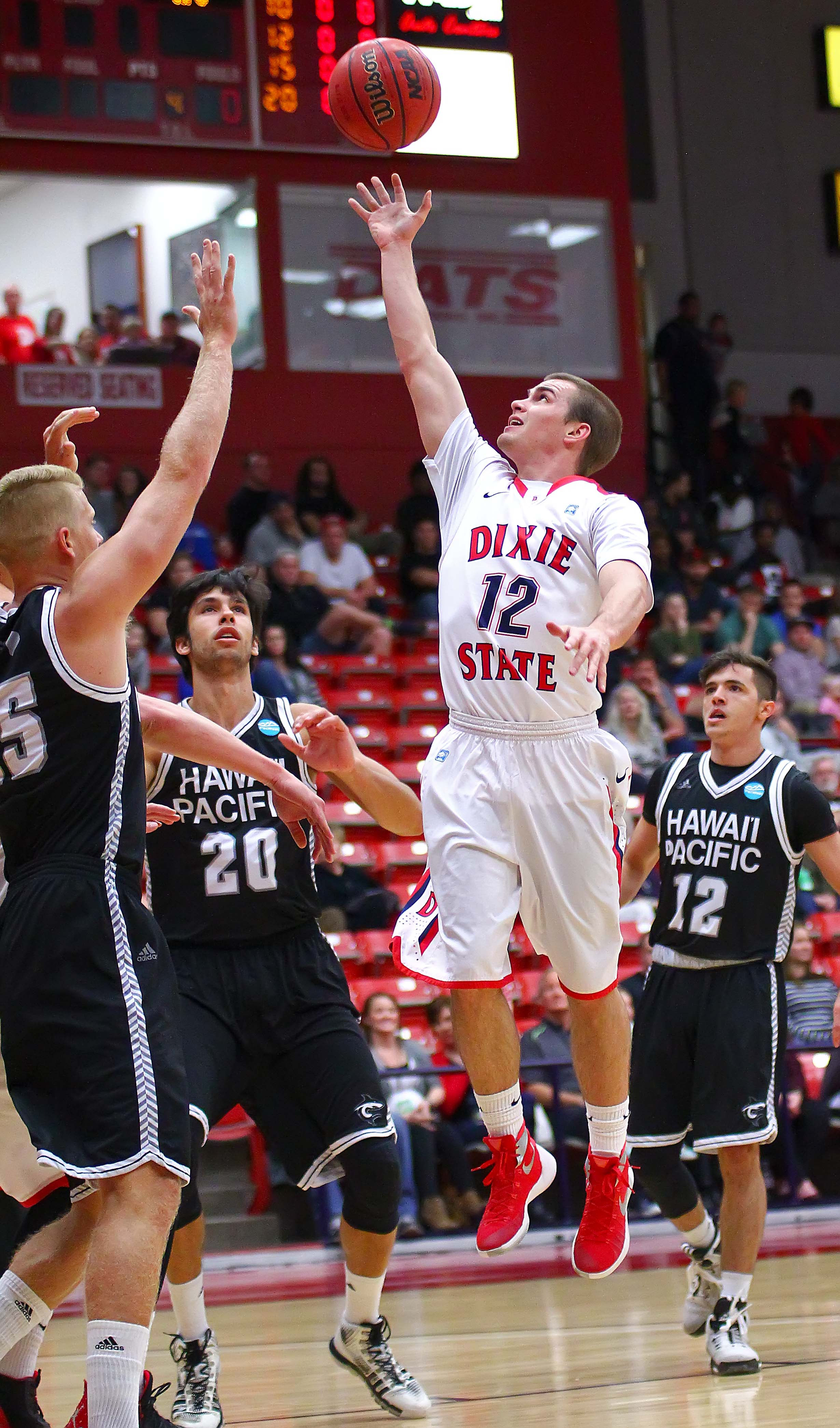 Dixie State's  Mason Sawyer (12), Dixie State University vs. Hawaii Pacific University, Mens Basketball, St. George, Utah, Jan. 30, 2016, | Photo by Robert Hoppie, ASPpix.com, St. George News