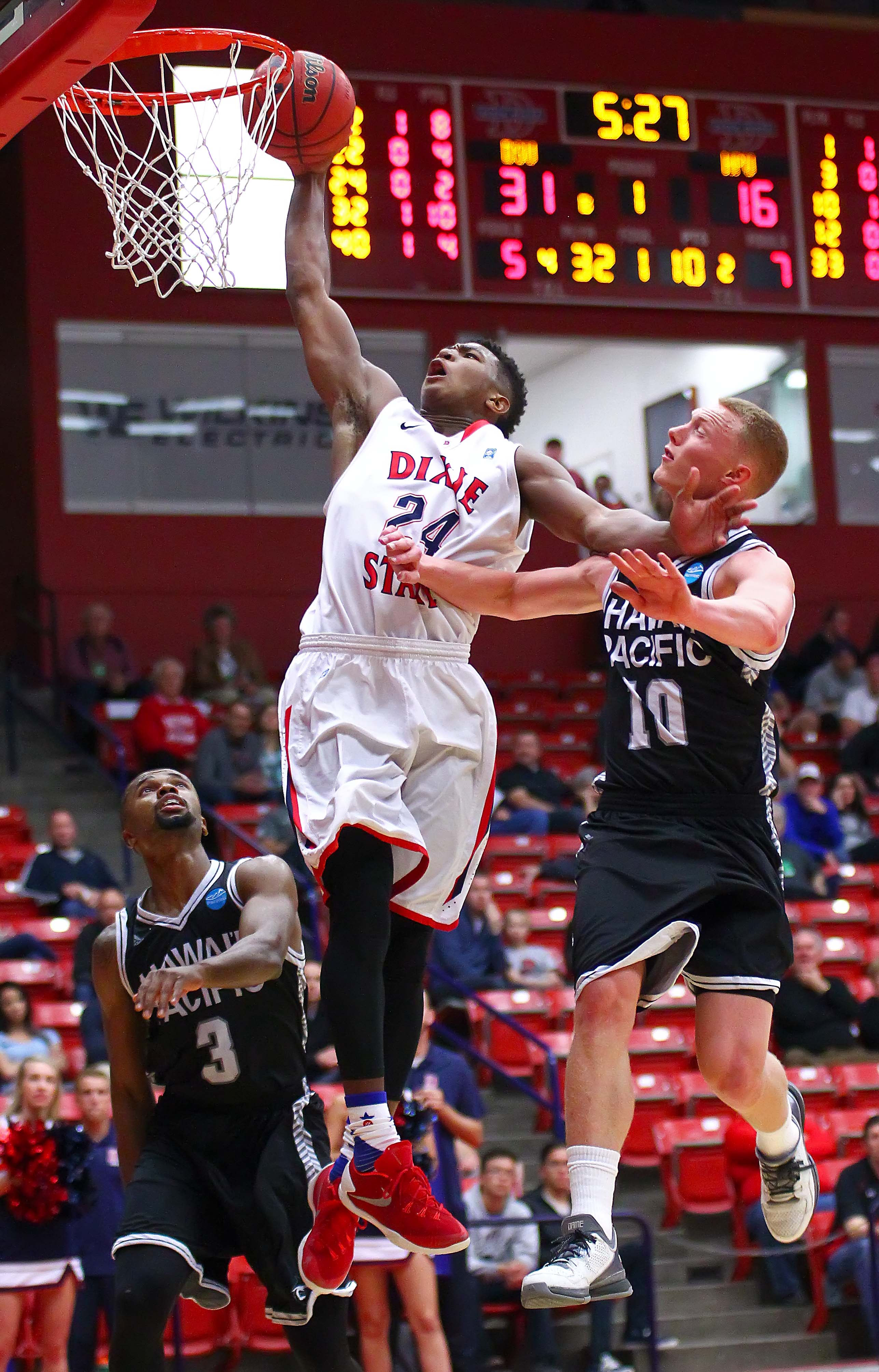 Dixie State's  Trevor Hill (24), Dixie State University vs. Hawaii Pacific University, Mens Basketball, St. George, Utah, Jan. 30, 2016, | Photo by Robert Hoppie, ASPpix.com, St. George News