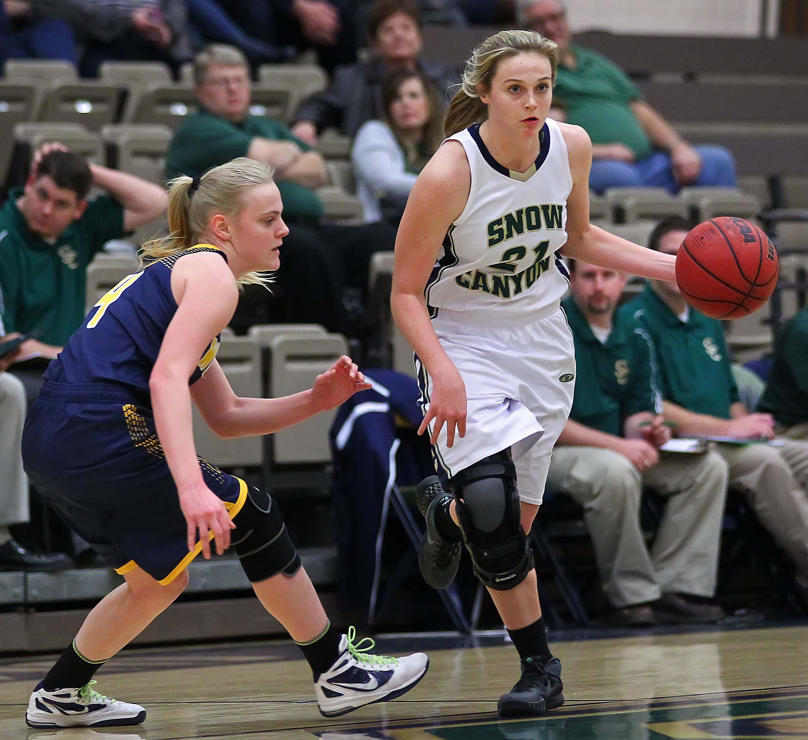 Snow Canyon's Madison Mooring (21), Enterprise vs. Snow Canyon, Girls Basketball, St. George, Utah, Jan. 5, 2016, | Photo by Robert Hoppie, ASPpix.com, St. George News