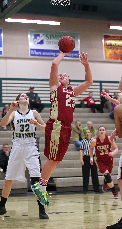 Cedar's Courtney Morley (23), Snow Canyon vs. Cedar, Girls Basketball, St. George, Utah, Jan. 12, 2016, | Photo by Robert Hoppie, ASPpix.com, St. George News