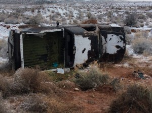 A truck rests on its side off of state Route 389 following a single-vehicle accident, Mohave County, Arizona | Photo by Cami Cox Jim, St. George News