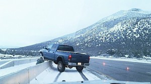 Ice on Interstate 15 spurred five single-vehicle crashes and four slide-offs on the Black Ridge between mileposts 36 and 42, Washington County, Utah, Jan. 8, 2015 | Photo courtesy of Utah Highway Patrol, St. George News