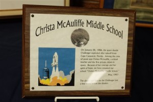 A display in the lobby of Christa McAuliffe Middle School in Bay County's Bangor Township, Michigan, honors the teacher-astronaut who died in the Challenger explosion 30 years ago in 1986, Thursday, Jan. 28, 2016 | Photo by Andrew Dodson for The Bay City Times via AP, St. George News