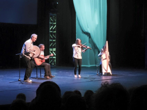 In this photo from Dixie's Got Talent's 2015 finale, winners, Wooden Tantrum perform for the judges and crowd, St. George, Utah, January 2015 | Photo courtesy of Dixie's Got Talent, St. George News