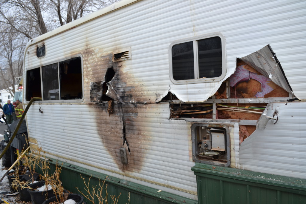 Fire destroyed a trailer, Parowan, Utah, Jan. 18, 2016 | Photo by Emily Hammer, St. George News