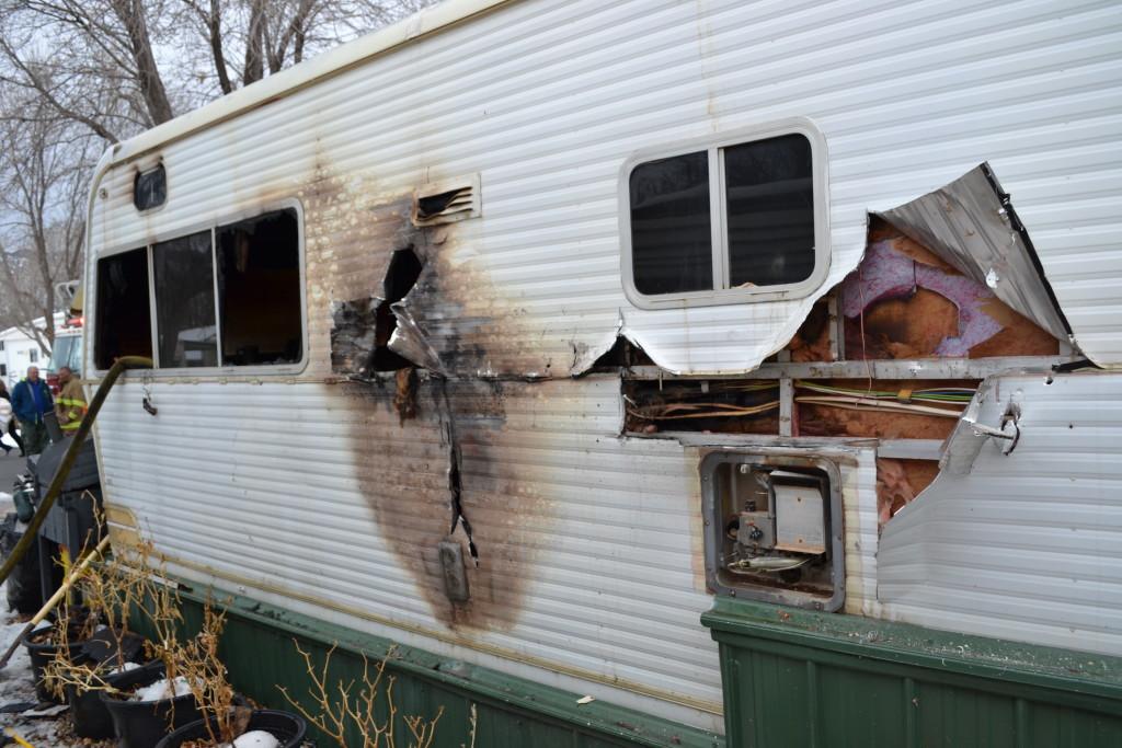 Fire destroyed a trailer, Parowan, Utah, Jan. 18, 2016 | Photo by Emily Hammer, St. George News