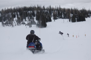 Snowmobiles drive through the park and share the trail at Cedar Breaks National Monument, Utah, January, 16, 2016 | Photo by Hollie Reina, St. George News