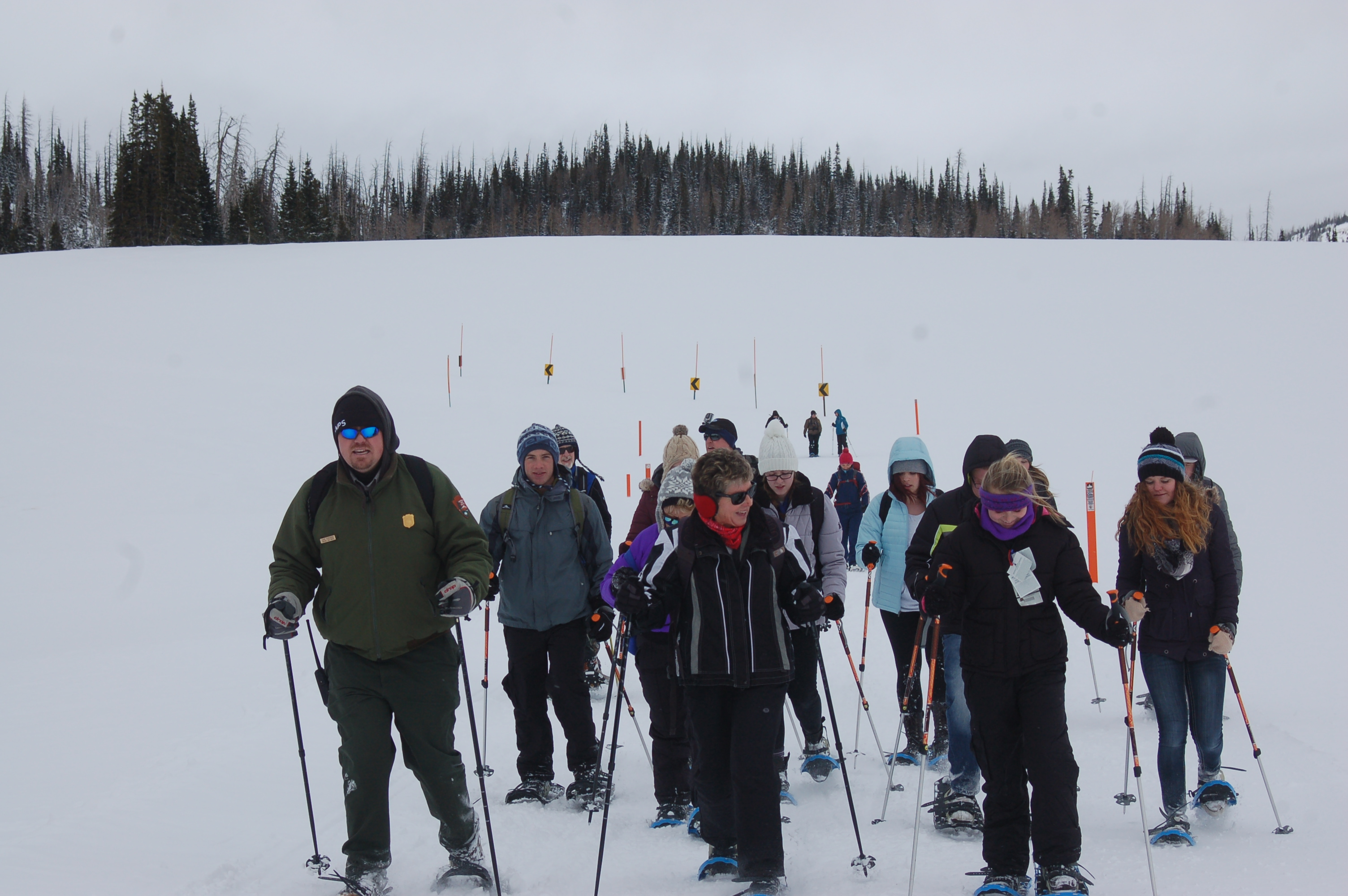Guests of the guided snowshoe hike take in the views and learn about the geology, flora and fauna of the park. Cedar Breaks National Monument, Utah, January 16, 2016 | Photo by Hollie Reina, St. George News