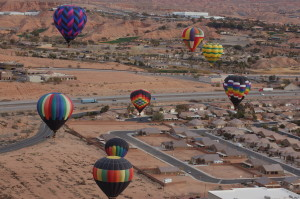 Beautiful hot air balloons grace the sky over Mesquite, Nevada, January 23, 2016   Photo by Hollie Reina, St. George News