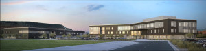 An architectural rendering of DXATC's new building at the Ridge Top Complex | Image courtesy of DXATC