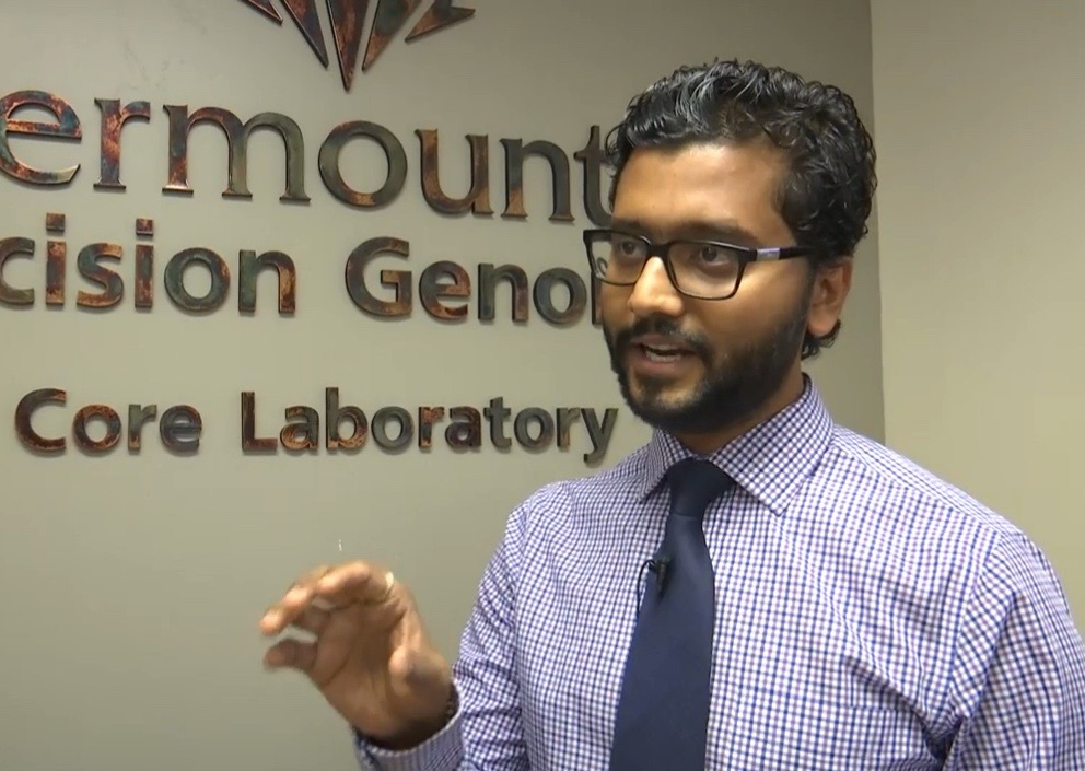 This 2015 photo shows Dr. Pravin Mishra in an interview with St. George News at the ribbon-cutting open house for Intermountain Precision Genomics Lab's new facility, St. George, Utah, Oct. 13, 2015 | Photo by Sheldon Demke, St. George News