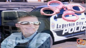 Amber Crouse with Pink Handcuffs at La Verkin Police Department, January, 2016  Photo courtesy of Amber Crouse, St. George News