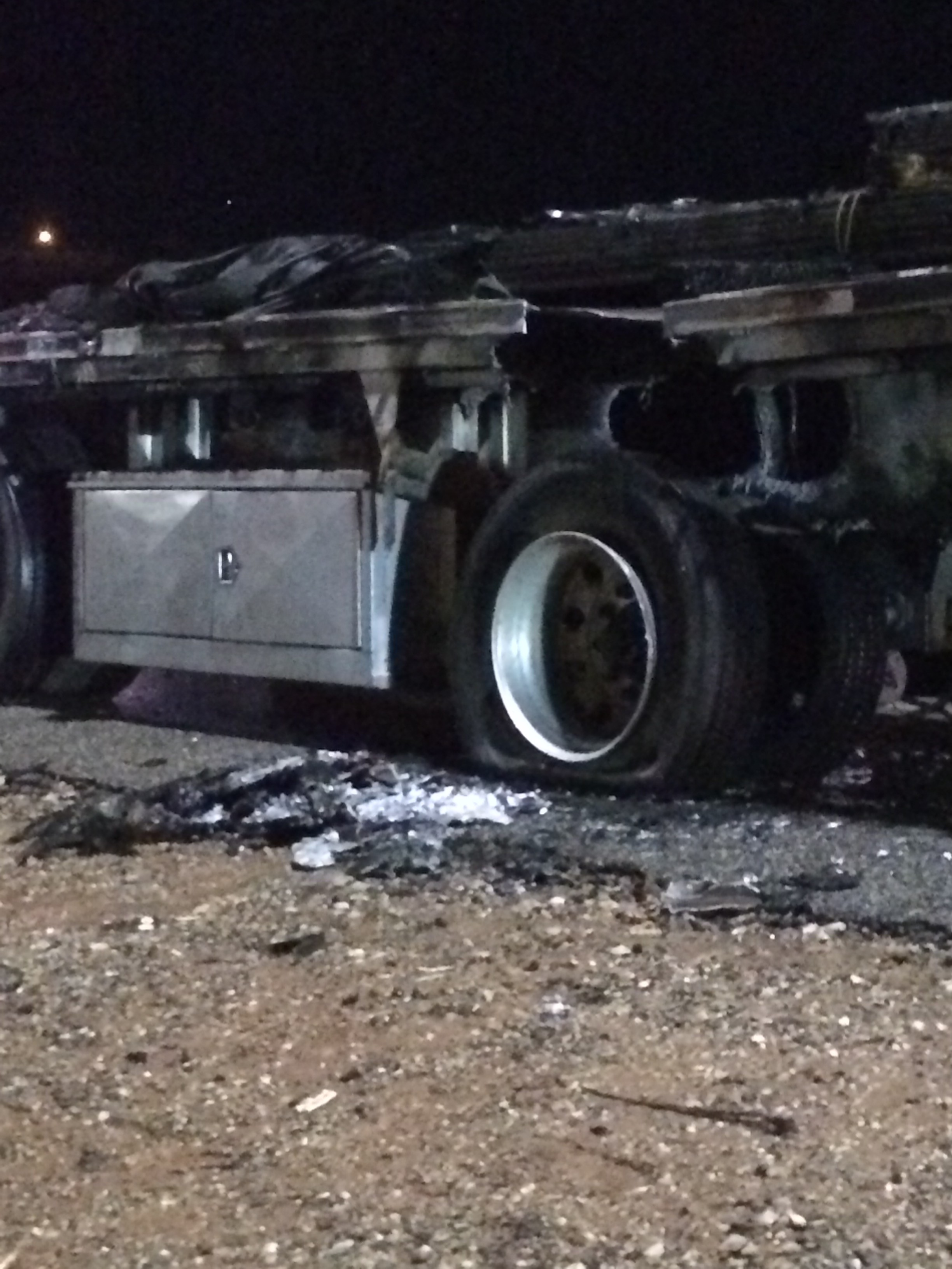Rear axle of semitrailer that caught fire north of mile marker 8, Interstate 15 southbound, St. George, Utah, Jan. 26, 2016 | Photo by Cody Blowers, St. George news