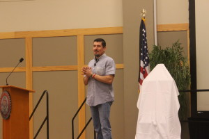 "Kris ""Tanto"" Paronto addresses the audience during his speech at the DSU Gardner Center Ballroom on Jan. 25, 2016. 