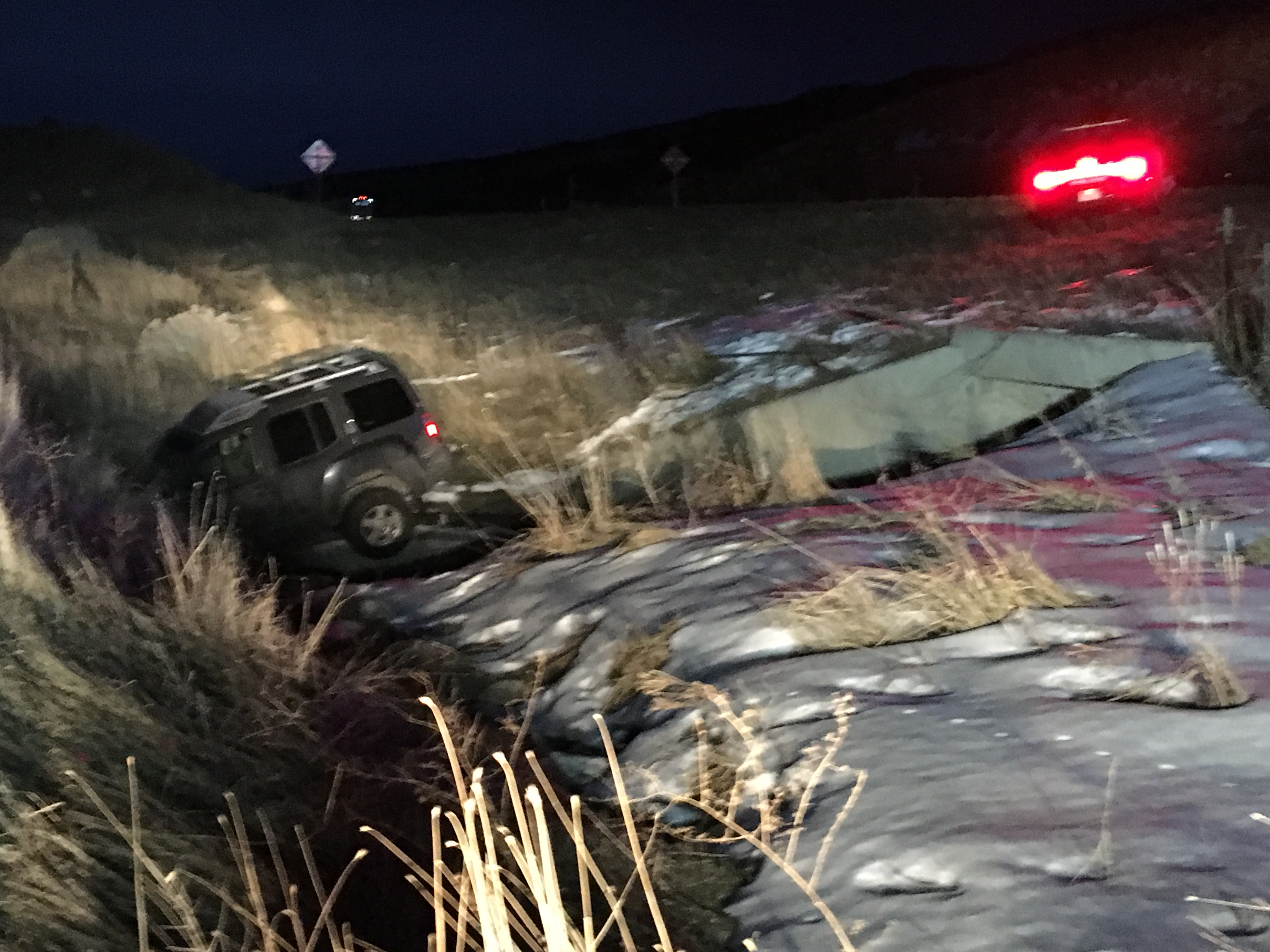 Cedar City Police were involved in a high-speed chase on Interstate 15 Friday morning that ended when the vehicle landed in a culvert. Cedar City, Utah January 15, 2015 | Photo taken by Tracie Sullivan | Cedar City News