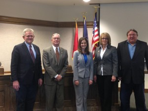 New and current council members take a moment for pictures with the Cedar City Mayor, Left to right: Fred Rowley, Craig Isom, Maile Wilson, Terri Hartley, Ron Adams, City Council Chambers, Cedar City, Utah, Jan. 4, 2015 | Photo courtesy of Maile Wilson, St. George News