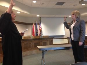5th District Juvenile Court Judge Thomas M. Higbee swears in newly elected City Council member Terri Hartley, City Council Chambers, Cedar City, Utah, Jan. 4, 2015 | Photo courtesy of Maile Wilson, St. George News