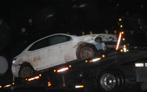 Extensive front end damage resulting from a single-car accident on northbound Interstate 15 near mile marker 6, St. George, Utah, Jan. 5, 2016| Photo by Cody Blowers, St. George News