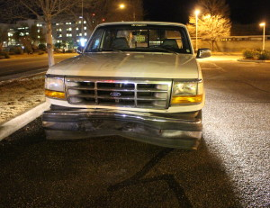 White Ford pickup truck struck in the intersection of South River Road and Foremaster Drive, St. George, Utah, Jan. 6, 2016 Photo by Cody Blowers, St. George News