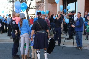 "Officers, families, friends, and others in the community attend the ""Balloons to Heaven"" event honoring fallen Unified Police Officer Doug Barney, held at the St. George Police Department, St. George, Utah, Jan. 27, 2016