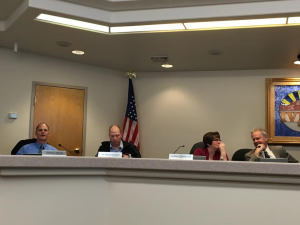 L-R Ivins council members Dennis Mehr, Cheyne McDonald and Jenny Johnson; and Ivins City Mayor Chris Hart, Ivins, Utah, January 7, 2016 | Photo by Hollie Reina, St. George News