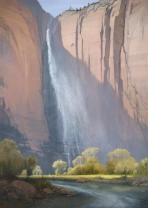 Waterfall painting by Jimmie Jones. Date unspecified. | Photo courtesy Southern Utah University, St. George News