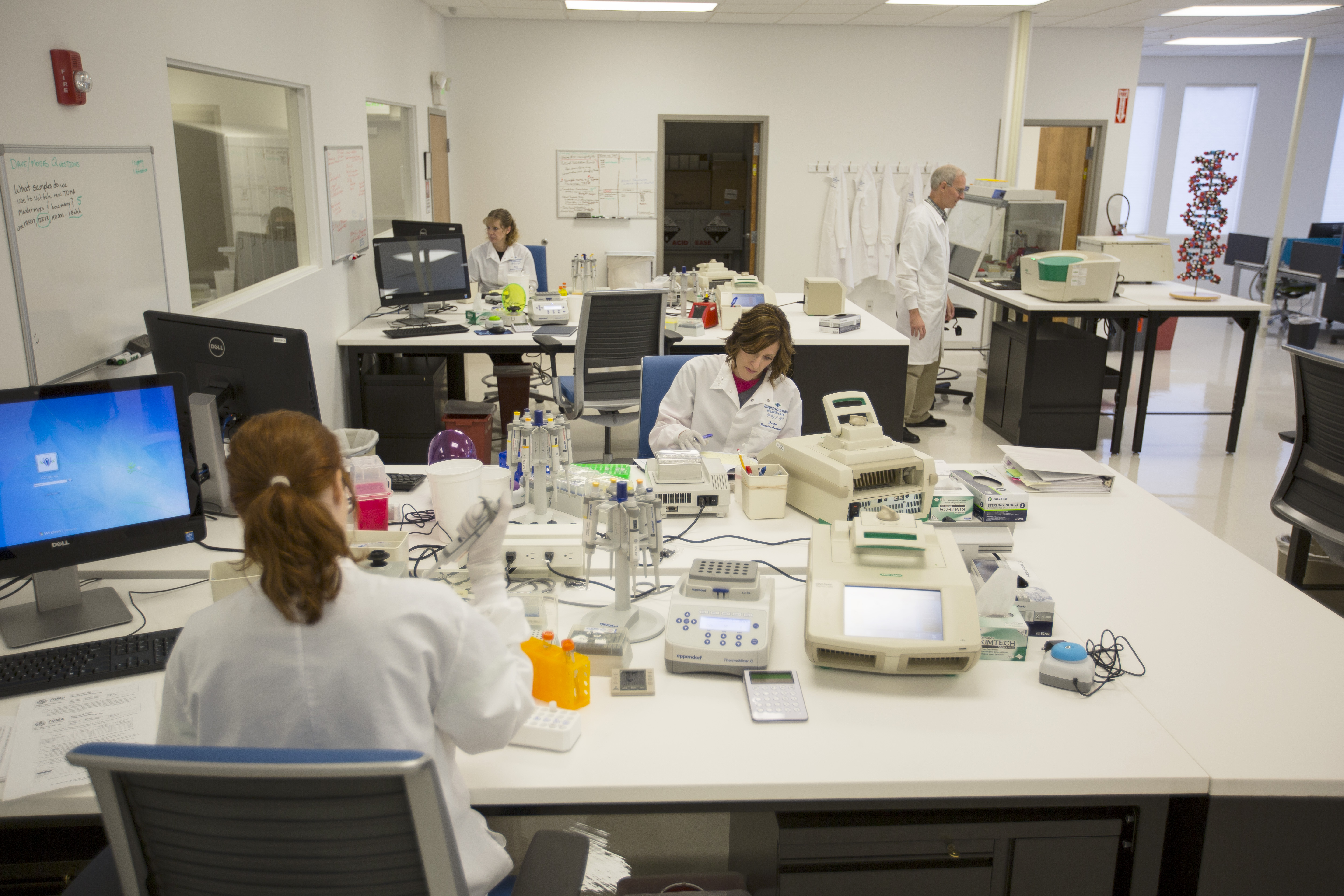 Aimee Shamo, Pat Bradley, Jackie Wayne and Sara King process samples in the core laboratory at Intermountain Precision Genomics, St. George, Utah, circa 2014-15 | Photo courtesy of Intermountain Healthcare, St. George News