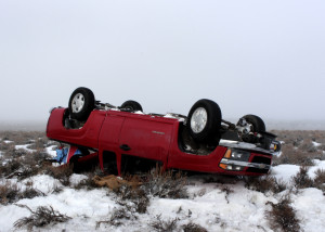 A Cedar City man walked away uninjured after rolling his truck on state Route 130 north on his way to work Wednesday morning, Parowan, Utah, Jan. 20, 2016 | Photo by Carin Miller, St. George News