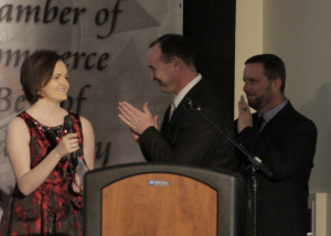 Young Citizen of the Year Award winner Kaliegh Bronson accepts her award at the 65th Annual Best of Cedar City Awards Gala, Southern Utah University Ballroom, Cedar City, Utah, Jan. 20, 2016 | Photo by Carin Miller, St. George News
