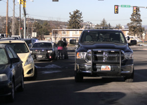 A woman on-foot was struck by a Jeep when crossing the road at 200 South and 300 West near Southern Utah University, Cedar City, Utah, Jan. 28, 2016 | Photo by Carin Miller, St. George News