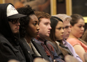 Students listen intently to State of Utah vs. Abisai Martinez-Castellanos during the live appeal trial held in the Great Gilbert Hall at Southern Utah University, Cedar City, Utah, Jan. 28, 2016 | Photo by Carin Miller, St. George News
