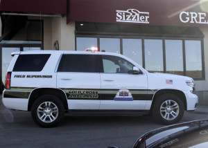 A woman on-foot was struck by a white Mitsubishi Galant while crossing the road at 200 North and Main Street near Sizzler, Cedar City, Utah, Jan. 28, 2016 | Photo by Carin Miller, St. George News