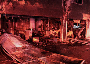 Damage to garage from Wednesday night fire, 100 W. 200 South area, Cedar City, Utah, Jan. 6, 2016 | Photo by Carin Miller, St. George News