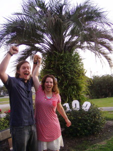 Caden and Jerika Scott celebrating their 100th day on the road, location and date not specified | Photo courtesy Caden and Jerika Scott, St. George News