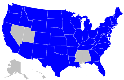 Powerball lottery is in all states shown in blue, plus the District of Columbia, Puerto Rico and the US Virgin Islands (not shown) | Map courtesy of Wikimedia Commons, St. George News
