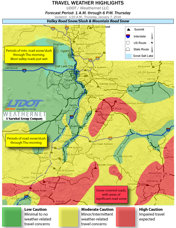 Travel weather highlights from Utah Department of Transportation for the period 1 a.m. to 6 p.m. Thursday, Utah, Jan. 7, 2016 | Map courtesy UDOT, St. George News | Click on image to enlarge