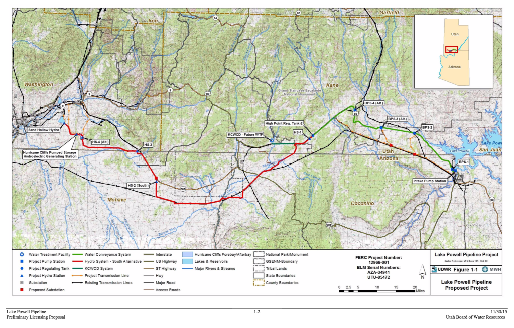 Utah Division of Water Resources Nov. 30, 2015, Map of Lake Powell Pipeline proposed project | Map courtesy of UDWR, St. George News