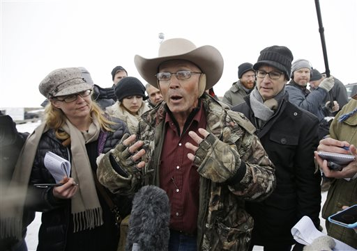 "LaVoy Finicum, a rancher from Arizona, who is part of the group occupying the Malheur National Wildlife Refuge speaks with reporters during a news conference at the the refuge. Law enforcement had yet to take any action against the group numbering close to two dozen who are upset over federal land policy. Finicum said the group would examine the underlying land ownership transactions to begin to ""unwind it,"" stating he was eager to leave Oregon, near Burns, Oregon, Jan. 5, 2016
