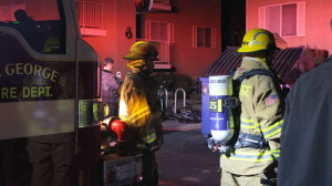 Firefighters responded to a potential structure fire that resulted in the evacuation one of the building at the Avalon Apartments complex at 333 S. 1000 East, St. George, Utah, Jan. 11, 2016   Photo by Mori Kessler, St. George News