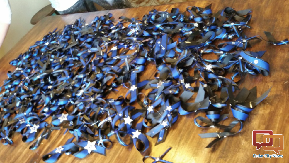 The Police Wives of Utah made 7,500 blue ribbon brooches to distribute to law enforcement to remember Unified Police Officer Doug Barney Cedar City, Utah, Jan. 23, 2016 | Photo courtesy of Police Wives of Iron County, St. George News